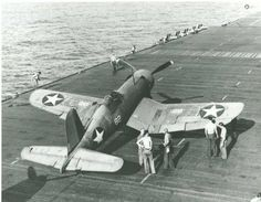 F4U-1 Corsair lines up for takeoff aboard the USS Wasp