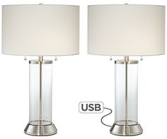 Set of 2 Fritz Glass Column USB Table Lamps ** Check out the image by visiting the link.Note:It is affiliate link to Amazon.