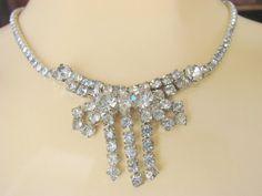 50s Vintage Bridal Formal Rhinestone Necklace Bow by joysshop, $18.95