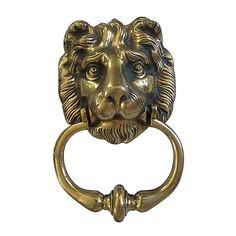 Antique Heavy English Brass Lion Head Door Knocker on Chairish.com