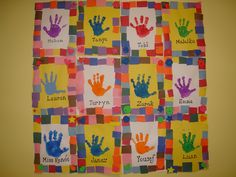 Fine Motor:Form initials out of play dough.Paint hand and make handprint on paper. Glue paper squares around edges of paper. Create class handprint quilt.