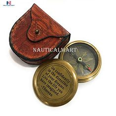 Marine Mart Thoreaus Go Confidently Quote Engraved Compass with Stamped Leather case Boating Compass Graduation Day Gifts Camping Compass Gift Compass