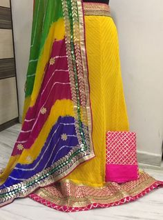 """Free Shipping,Indian beautifully designed Rajasthani Traditional Lehanga set. VS240718 Georgette semistiched lehenga 3 metre ghera 42"""" length fit upto 42"""" with unstiched 80 cm dupion Jaal blouse and gotapatti chiffon leheriya Dupatta 2.5 metre Pls ask for availability before"""