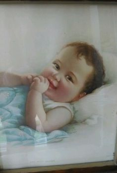 """Vintage Baby Print by Annie Benson Muller """"and now awake"""" copyright ANTIQUE nice #Vintage"""