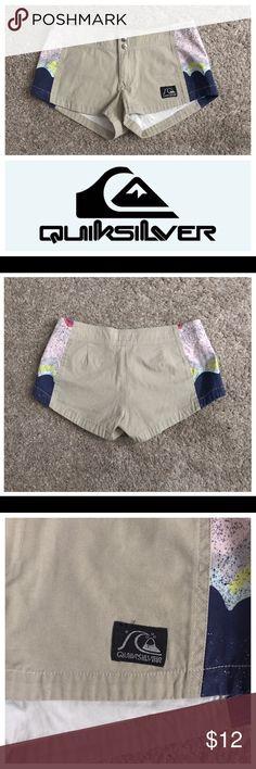 """Quiksilver Size 1 Color Block Shorts Excellent condition; Across waist - 14.5"""", Front rise - 7"""", Inseam - 2""""; 100% cotton Quiksilver Shorts"""