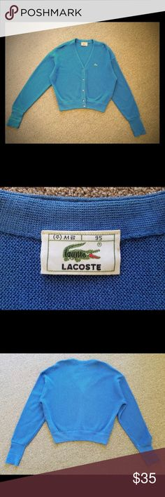 Vintage blue  1980's  Lacoste cardigan Vintage 1980's  Lacoste cardigan   Armpits: 20 Neck to Arm: 33 Lenght: 22  Measurements are taken flat on table. Double # for more accurate sizing Lacoste Sweaters Cardigans