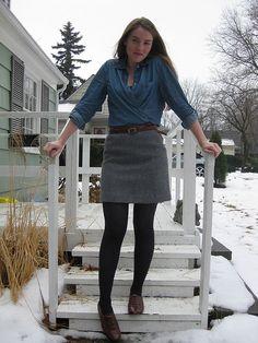 skirt,tights,brogues