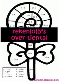 Rekenlolly's over tiental Mathematics, Worksheets, Classroom, School, Teaching, Education, Scrabble, Logo, Kids