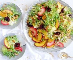 A last bite of summer with a #stonefruitsalad with frisee, #wheatberries, #cherries, #nectarine, and #plums, from #thetruespoon. You can keep in #superfood season by substituting the the cherries that are in the salad with a #cherryvinaigrettedressing. #acerolacherry to taste, 2tbsp white wine vinegar, 2tbsp olive oil, and 1 tbsp of #freshthyme or #acai for another optionof a #healthysaladdressing in place of the #redwinevinaigrettedressing.  #celeste #thetruespooneats recipe bit.ly2cV7LFD…