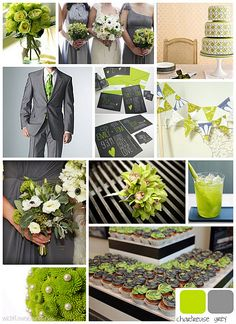green and grey wedding colors- thinking lighter gray. Love the invites