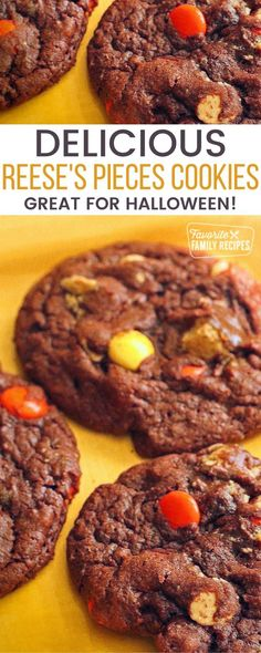 A great Halloween recipe, these Reese's Pieces Cookies are full of peanut butter candy goodness in a chocolaty fudge. Colorful Reese's Pieces candies combined with chopped Reese's Peanut Butter Cups… More Best Sugar Cookies, Sugar Cookies Recipe, Yummy Cookies, Reese's Pieces Cookies, Delicious Cookie Recipes, Easy Cookie Recipes, Brownie Desserts, Easy Desserts, Halloween Finger Foods