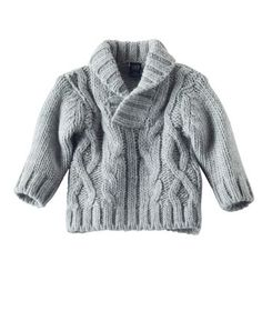 Available exclusively online from Hallmark Baby, beautiful Baby clothes including these Baby Boy Chunky Shawl Neck Sweater  Gray made of 70% acrylic / 30% wool