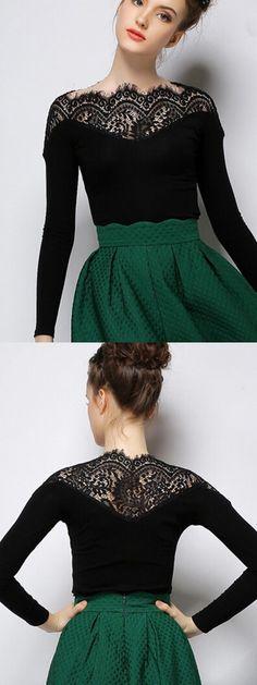 Black Lace Panel Tight Long Sleeve T-shirt