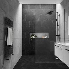 Stylish Impressive Black Floor Tiles Design Ideas For Modern Bathroom Black Tile Bathrooms, Dark Gray Bathroom, Grey Bathroom Interior, Natural Bathroom, Modern Bathrooms, Interior Modern, Bad Inspiration, Bathroom Inspiration, Gray Shower Tile