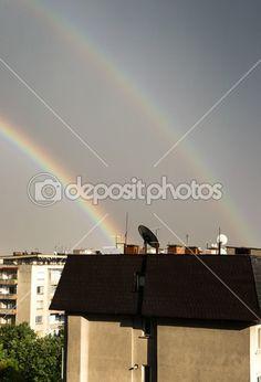 Double rainbow over the buildings of the city of Stara Zagora, Bulgaria