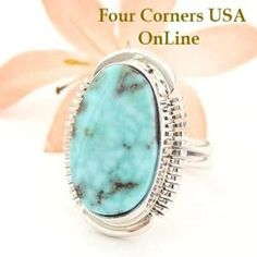 Dry Creek Turquoise Ring Size 6 1/2 Thomas Francisco Four Corners USA OnLine American Indian Silver Jewelry NAR-1445