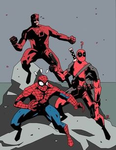 Dare Devil, Deadpool and Spider-Man by Luke Parker