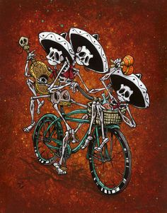 The skeleton band rides their bike around town, filling the streets with music…