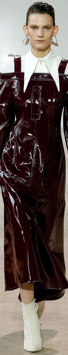 Ellery Fall 2017 RTW White Burgundy, Burgundy Wine, Black And White, Catwalk Fashion, All Fashion, Winter Fashion, Leather Fashion, Ruffle Blouse, Fall