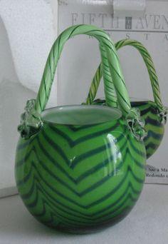 Crystal Purse Handbag Art Glass Planter Votive Hand Blown Round Fifth Avenue NIB #Gifts