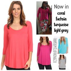 Perfect transitional tee for early Spring!!! This is one of our fan favorites that I always keep on hand!!     Scoop neck, flare cut, 3/4 sleeves. Very flattering, and so soft and comfy!!!     Small fits 2/4/6.    Medium fits 8/10+    Large fits 12/14+    Coral, Fuchsia, Aqua, Heather Grey, and Charcoal (not pictured) are available. $22.50 each with FREE SHIPPING in the USA!! International orders welcome, rates will apply. | Shop this product here: http://spreesy.com/Forkeepsclothingco/327…