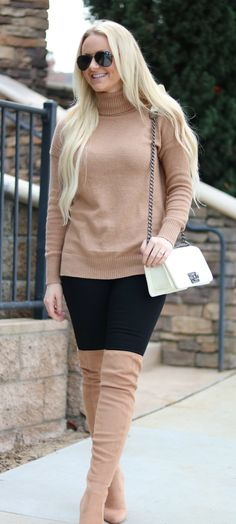 Camel sweater and boots