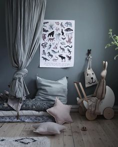 Love this beautiful kid's corner by Ooh Noo toy pram and Maileg soft bunnies are all available online . Cool Kids Bedrooms, Girls Bedroom, Bedroom Bed, Baby Room Decor, Bedroom Decor, Kids Decor, Home Decor, Kids Corner, Nursery Neutral