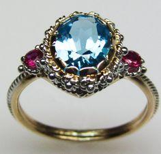 Blue Topaz & Ruby Ring, #Jewelry