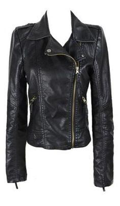 Black Zipper Moto Jacket ♡