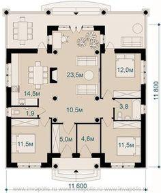 План одноэтажного дома 12 на 12 метров с 3 спальнями и террасой Адриатика от бюро Иваполис
