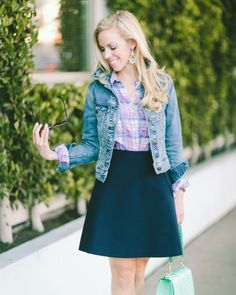 "Playful Prep: vintage distressed denim jacket, purple plaid shirt, navy A-line skirt, mint Brahmin ""Ophelia"" bag"