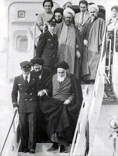 Arrival of the Imam in Iran on 1st of February,1979----look at the display of impartiality. If his son or one of his advisors had accompanied him down, it would have set the stage for favoritism. Instead, he took the arm of the airplane's captain, and descended to the ground to change modern history.