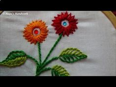 This video shows another version of Lazy Daisy Stitch(Detached Chain Stitch) for filling flowers along with buttonhole stitch (Blanket Stitch) adoring the le...