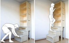 Bookcase with steps | this is genius and someone needs to make it for me