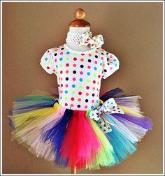 Birthday princess rainbow poka dots Tutu by GlitzyGirlzDesigns, $45.00
