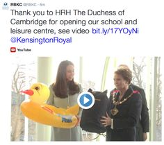 """Before heading back to the palace, the Duchess received one last present for baby Prince George: an inflatable duck float. Middleton revealed that Prince George had begun swimming lessons at the pool inside Buckingham Palace, but that her husband had been taught at the Centre. """"The Duchess was talking about Prince William learning to swim here, and she said she hoped Prince George can come here to learn, too,"""" cabinet member Tim Ahern shared."""