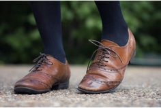 black tights brown shoes