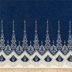 """From Telio, this beautiful single border chambray fabric is lightweight and soft, featuring a gorgeous tatted/crocheted lace single border with openwork accents that extends 14"""" from the selvedge edge. The scalloped edge is fully finished and perfect for unique skirts, dresses, and blouses with a 70's vibe. Remember to allow for extra yardage for pattern placement due to the border."""