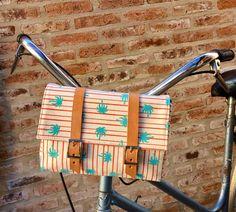 Palma e strisce tela di cotone e cuoio borsa bicicletta /