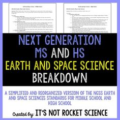FREE 6-12 designed to help you understand the Next Generation Science Standards for earth and space sciences  both middle school and high school.  These standards, and the details behind them, have been re-organized in this product to be easier to read, understand, and implement in your classroom.