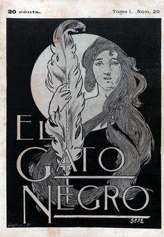 https://flic.kr/p/KLnPGj | 1898_05_28 GATO NEGRO | El Gato Negro. Barcelona, Tomo I (28/05/1898), núm. 20, coberta, b/n.