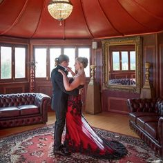 Teneille's Red and Black Bridal Gown was created by Anna Dutton Couture Couture Bridal, Bridal Gowns, Awards, Anna, Mermaid, Formal Dresses, Red, Black, Design