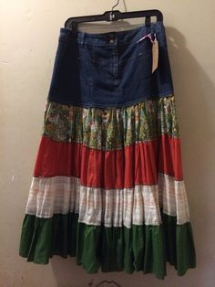 Up-Cycled Denim Topped Peasant Skirt Very Boho by reconstruKteD