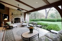 The only thing better than a cozy living room is a cozy outdoor living room! This Huntleigh, MO home even has a fireplace to warm up even the chilliest nights.