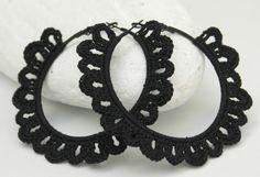 Crochet hoop earrings  Crochet jewelry  Big earrings by lindapaula, €12.00
