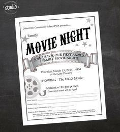 Custom Printable Family OR Mother/Son Movie Night School Or Church Flyer,  PTO Flyer, PTA Flyer, Church Flyer