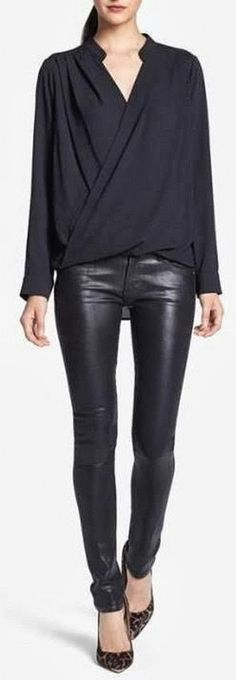 Black Leather Pants and Black Shirt. All Black. Perfect Combination. Love It