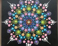 "Handpainted dot mandala on 8"" square canvas panel"