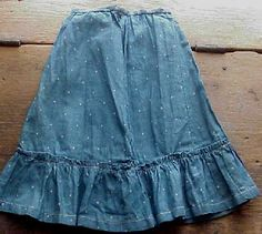 Early blue calico doll's skirt