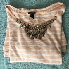 J.Crew jeweled tshirt Cool tshirt size: small soft pink and white with jewels☺️Price is firm unless bundled☺️ No offers entertained 10% off bundles - occasionally I might offer more discount for short period  J. Crew Tops Tees - Short Sleeve